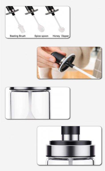 Borosilicate Glass Pickle, Ghee, Honey Jar Set of 3, 250 ML