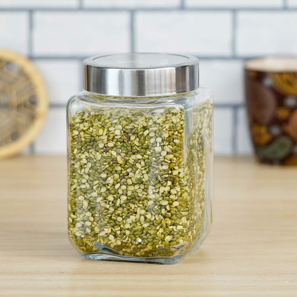 Glass Cuboid Kitchen Storage Jar-750ML, Set of 2