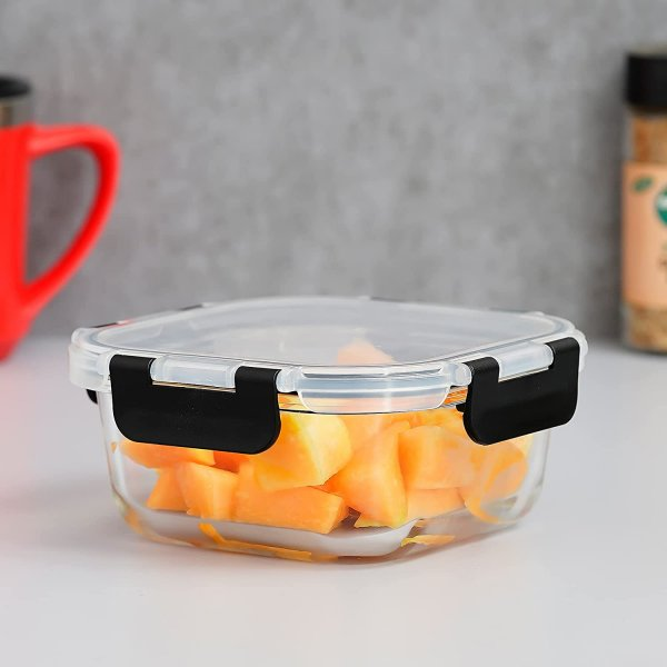 Femora Borosilicate Square Microwave Oven Safe Glass Container with Detachable & Break Free Lid , Black Color, 500 ML