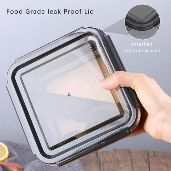 High Steel Square Container Airtight Leakproof Storage Container/Lunch Box - 380 ml/gm - Set of 2