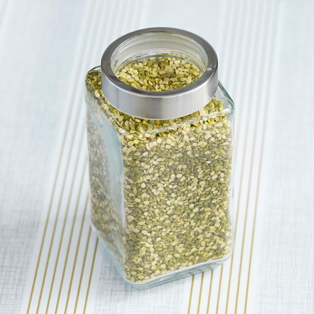 Glass Cuboid Kitchen Storage Jar-1000ML, Set of 4