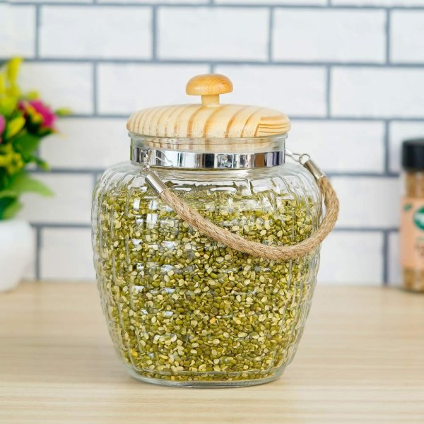 High Line Glass with Bamboo Lid Jar-2000ML, Set of 6