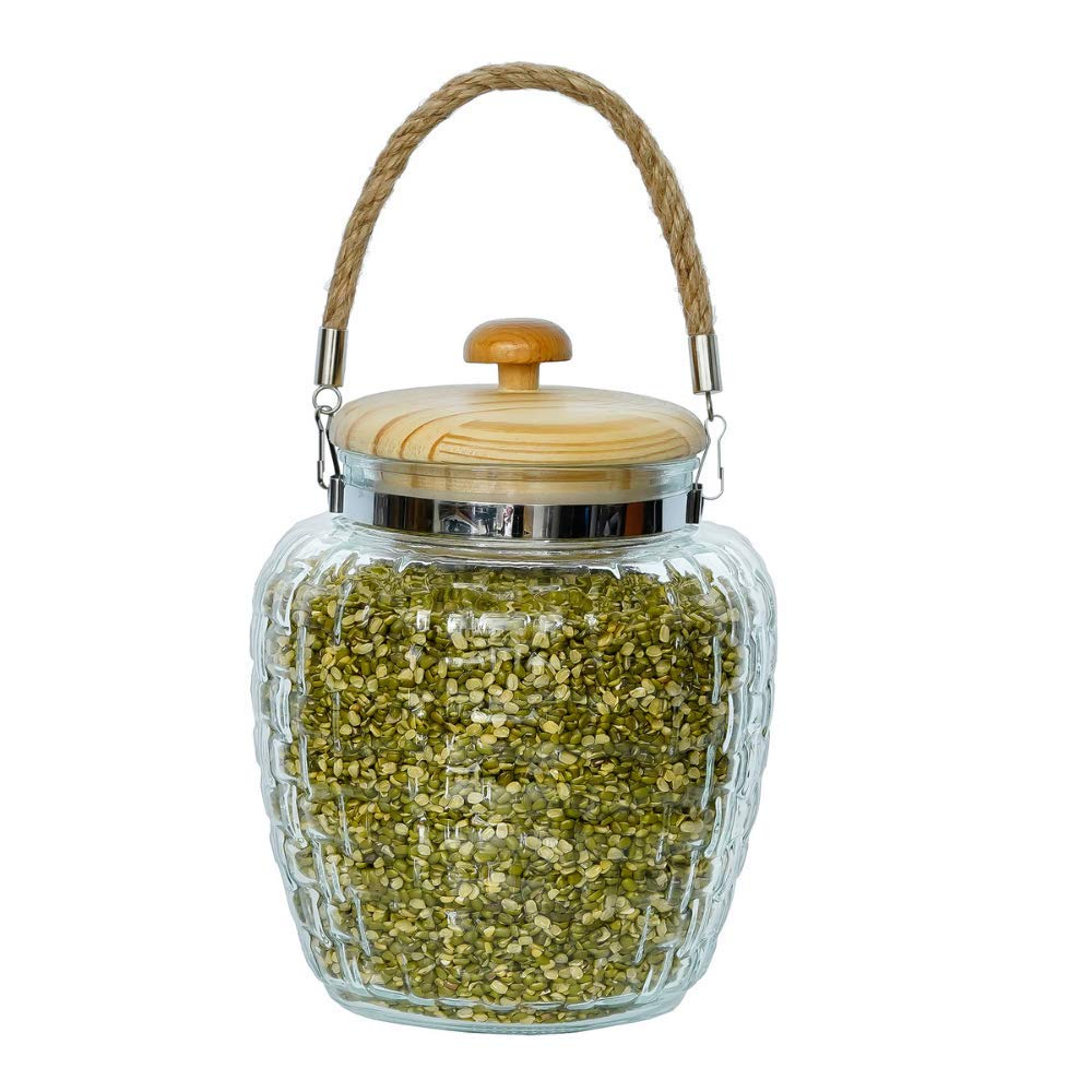High Line Glass with Bamboo Lid Jar-2000ML