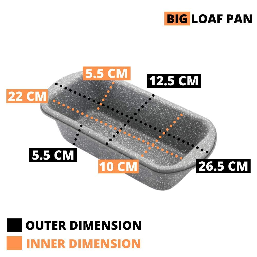Carbon Steel Stone Ware Non-Stick Coated Baking Big Loaf Pan and Pizza Pan, Set of 2