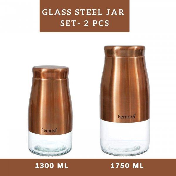 Clear Glass Gold Metallic Jars - 1300ML, 1750ML, Set of 2