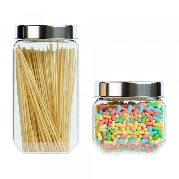 Femora Octo Storage Glass Jar - 2000 ML_850 ML- Set of 2