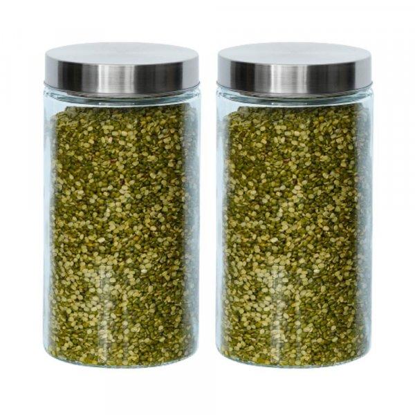 Glass Cylinder Storage Jar-1600ML, Set of 2