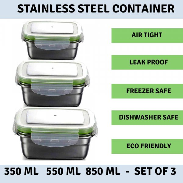 High Steel Rectangle Container with Lock Lid Lunch Box for Office, Storage, Lunch Box - 350ml, 550ml, 850ml Set of 3