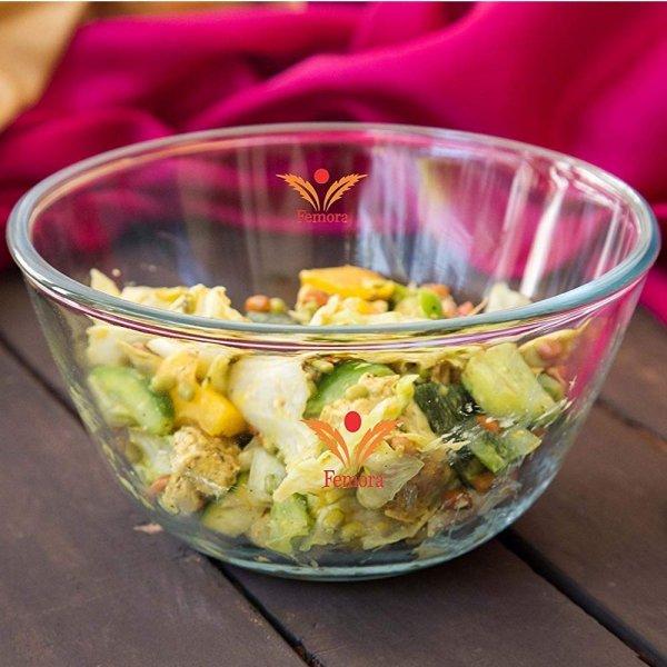 Borosilicate Glass Round Mixing Bowl (2100 ml, 2650 ml, 3600 ml )- Set of 3