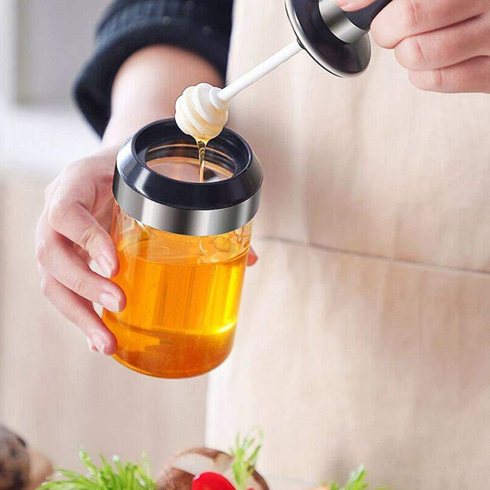 Borosilicate Glass Spice Jars and Honey Jar with Spoon 250 ML - Set of 2