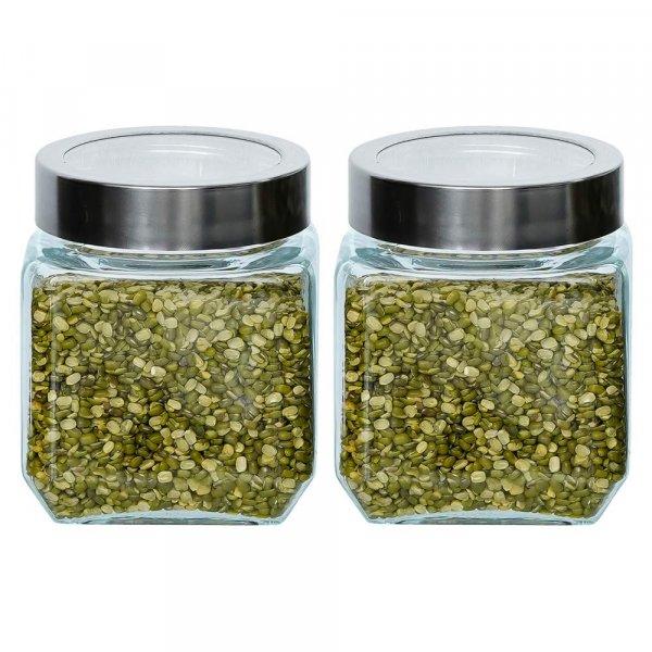Glass Cuboid Kitchen Storage Jar-500ML, Set of 2