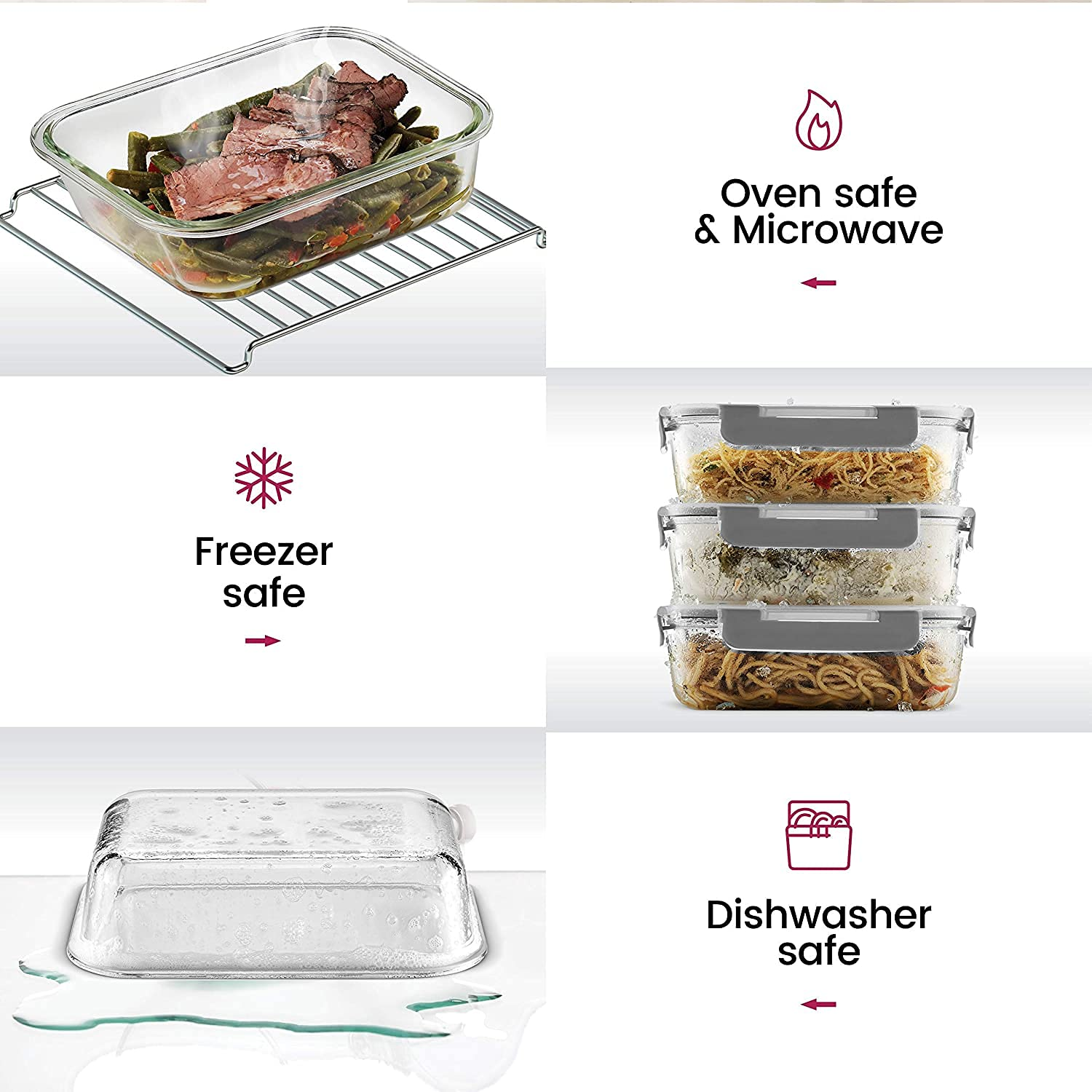 Borosilicate Rectangle Glass Container with Detachable & Break Free Lid , Black Color, 1000 ML