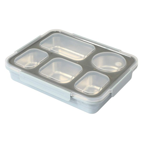 High Steel Rectangle Lunch Box Container with Bag (  (Not Leakproof )