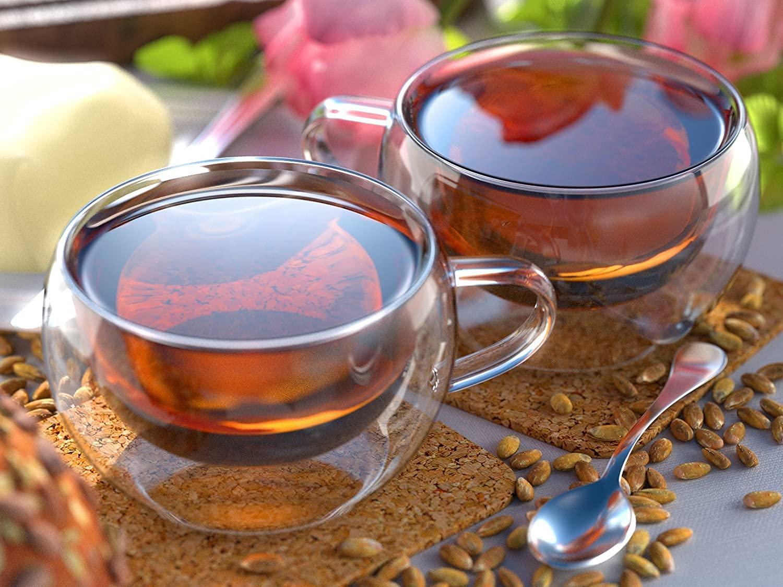 Borosilicate Glass Double Wall Wide Tea Cup-300 ML, Set of 6 pcs