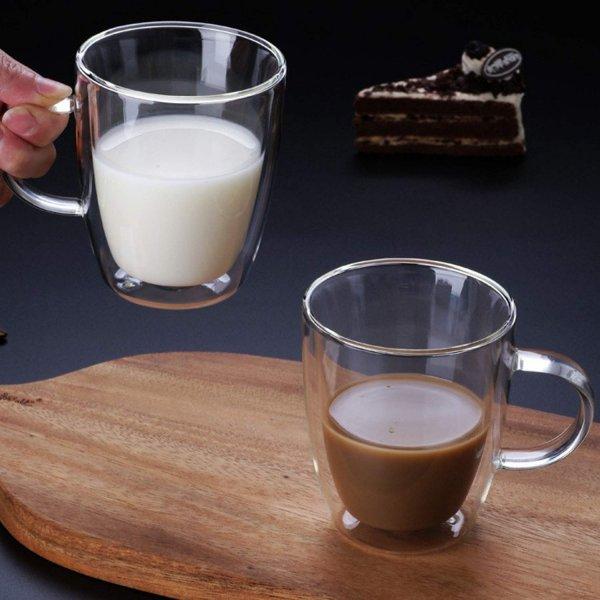Double Wall Crystal Glass Tea Cup Mug- 170 ML, Set of 4