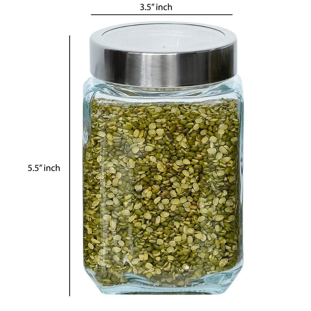 Glass Cuboid Kitchen Storage Jar-750ML, Set of 6