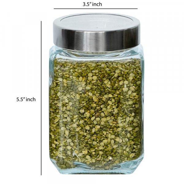Glass Cuboid Kitchen Storage Jar-750ML