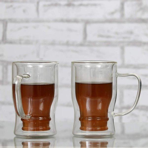 Double Wall Crystal Glass Beer Mug - Set of 2