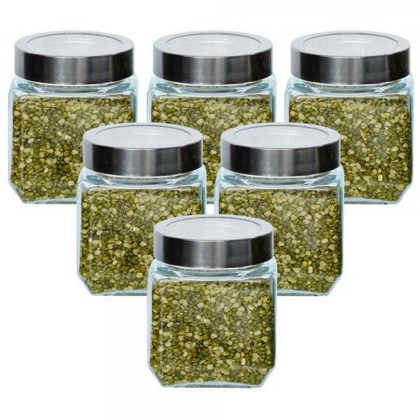 Glass Cuboid Kitchen Storage Jar-500ML, Set of 6