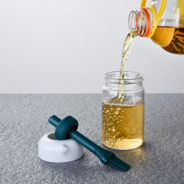 Borosilicate Glass 2-in-1 Brush & Oil Green Jar - 200 ML, Set of 4