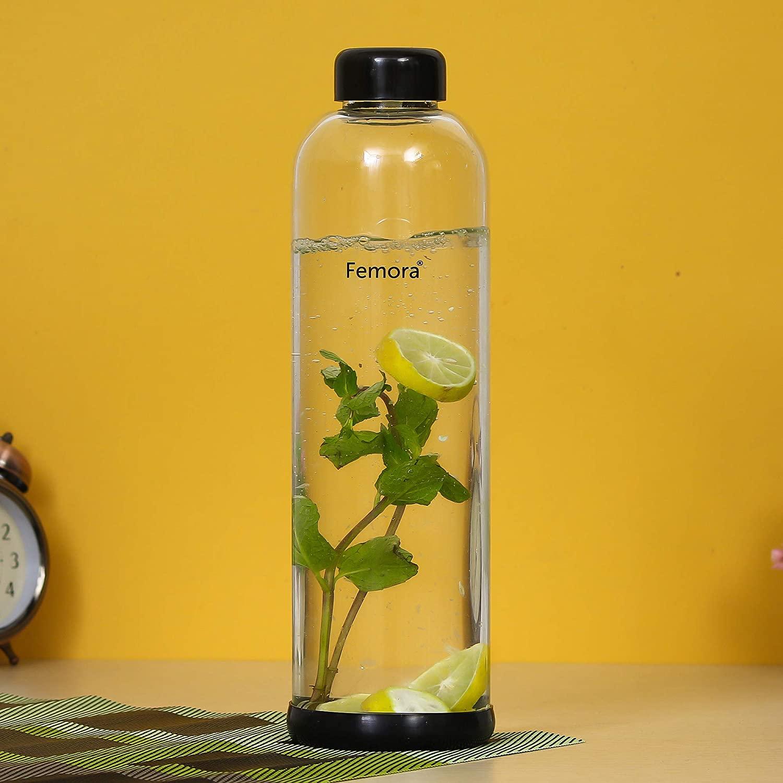 Borosilicate Glass Silicone Grip Bottle - 1000 ML
