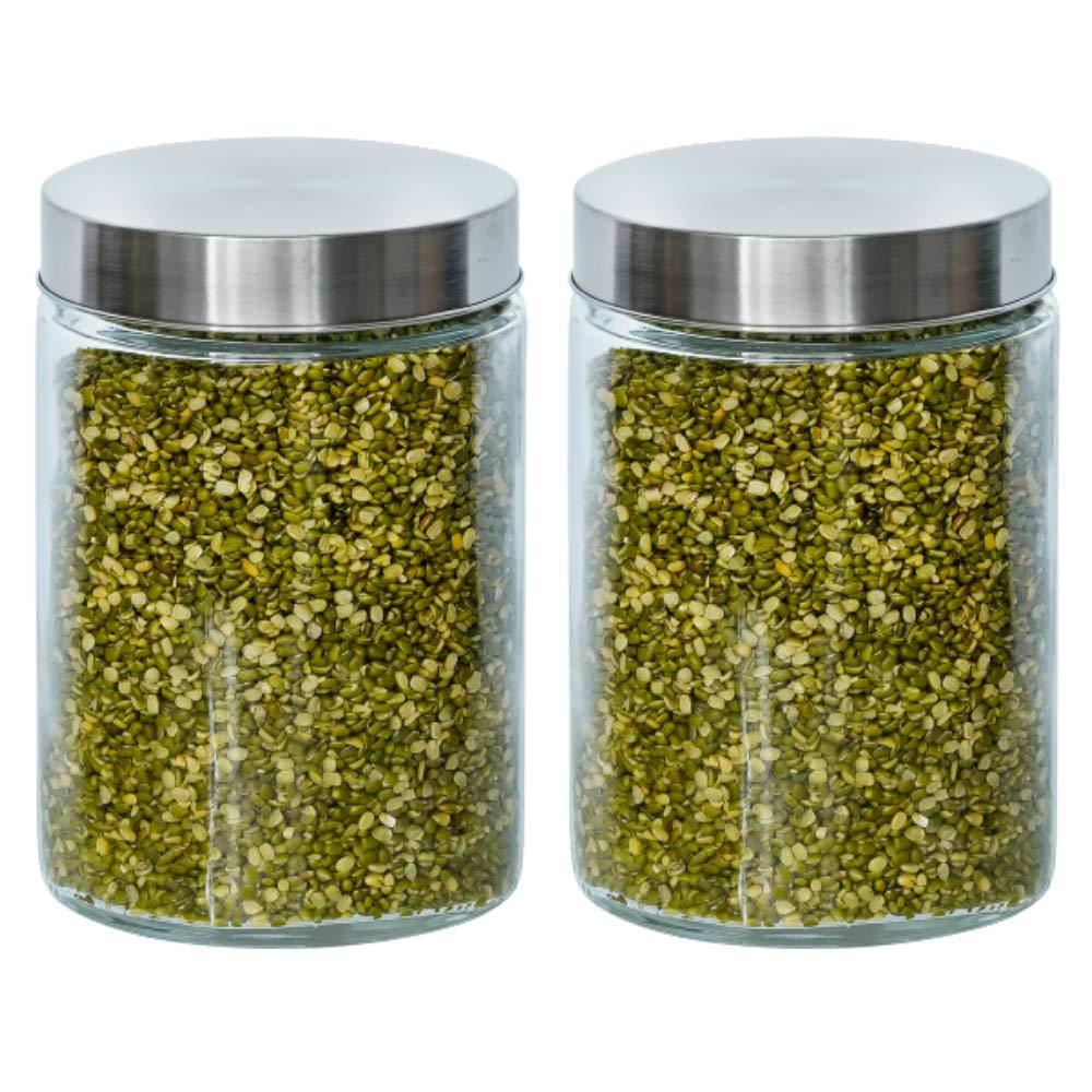 Glass Cylinder Storage Jar-1100ML, Set of 2