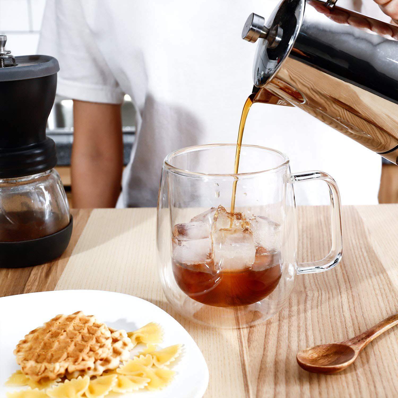 Double Wall Crystal Glass Tea Cup Coffee Mug - 270 ML, Set of 4