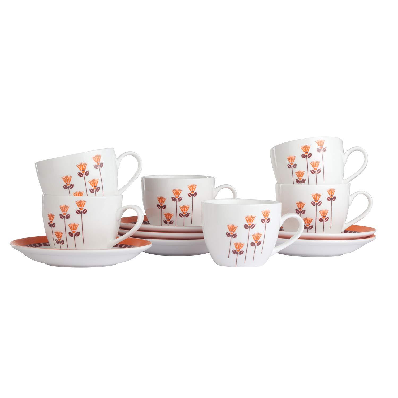 Ceramic Saffron Floral Tea Cups & Saucers, 205ML