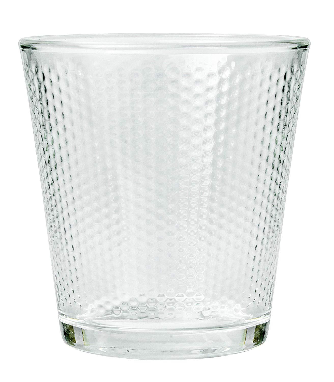 Clear Glass Diamond Checker Tumbler - 300 ML, Set of 6