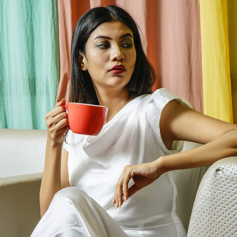 Indian Ceramic  Jumbo  Coffee  Mug  - 400 ML - Red, Set of 1