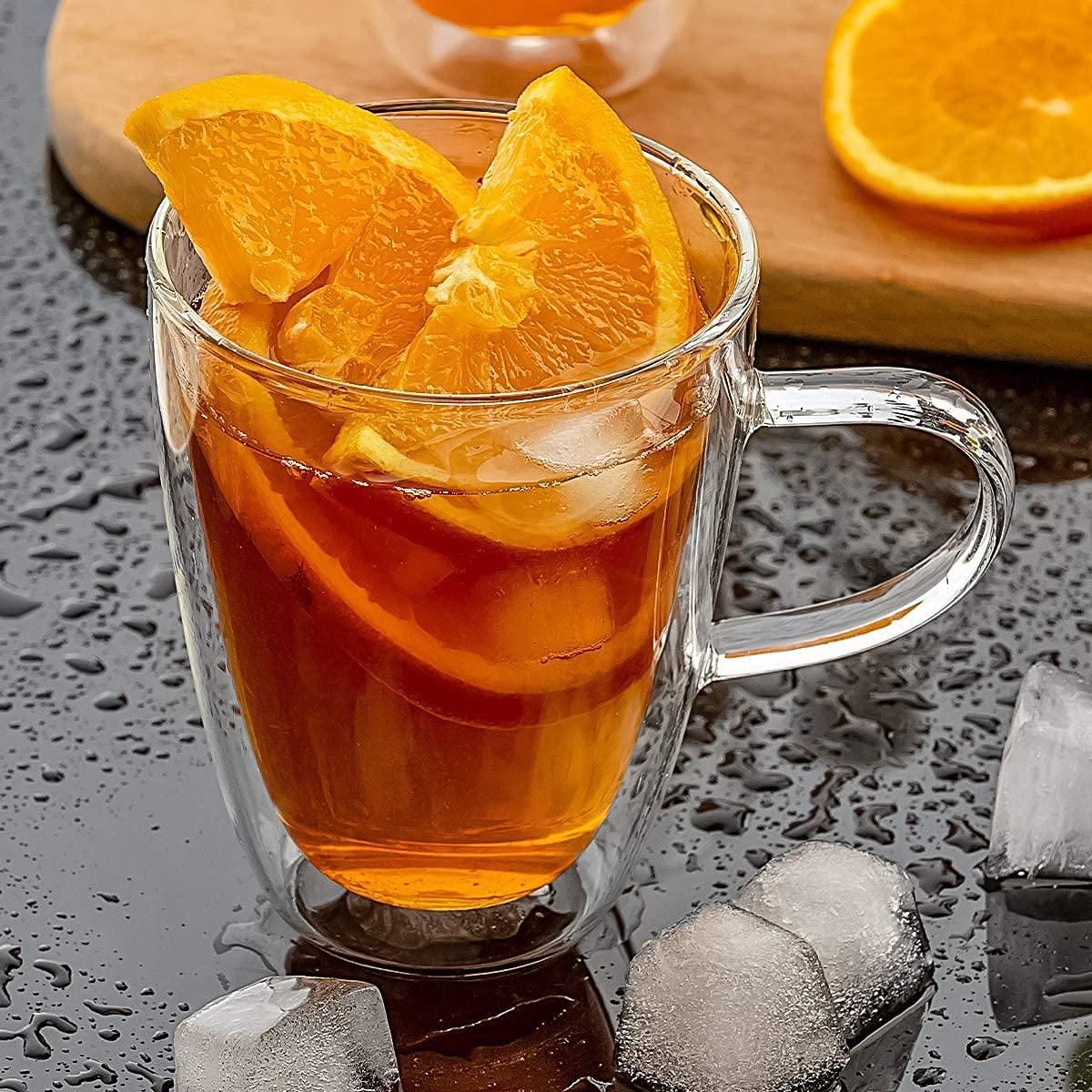 Borosilicate Glass Double Wall Tea Cup- 360 ML, Set of 2 pcs