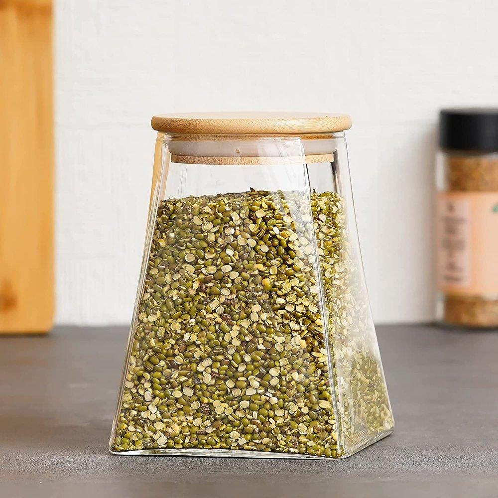 Borosilicate Glass Triangle Storage Jar with Bamboo Lid, 900 ML