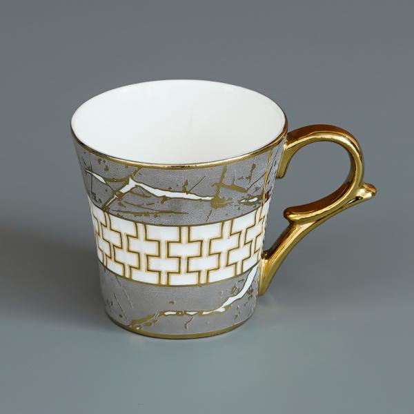 Indian Ceramic Fine Bone China Grey Gold Line Tea Cup - 6 Pcs, 155 ML