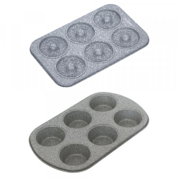 Carbon Steel Stone Ware Non-Stick Coated Baking Donought Tray and Muffin Tray, Set of 2