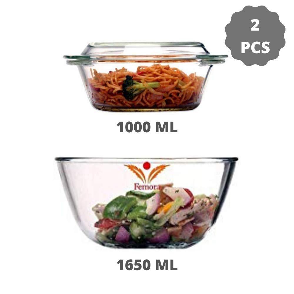 Borosilicate Glass Microwave Safe Mixing Bowl 1650 ML, Serving Casserole 1000 ML, Set of 2