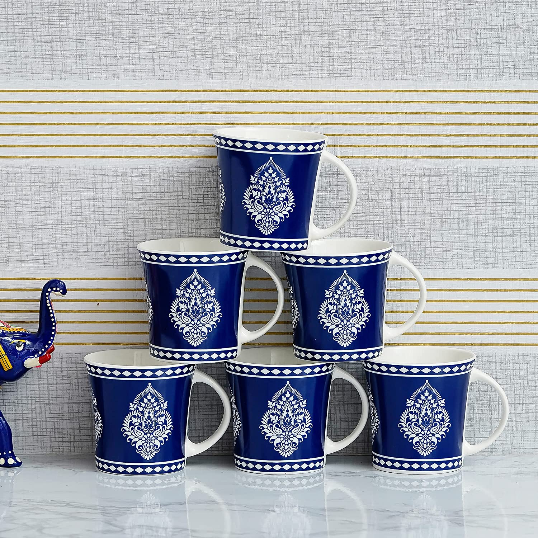 Indian Ceramic   Fine Bone China Handmade Garnish Tea Cup Coffee Cup - 6 Pcs,160 ML - Small Serving