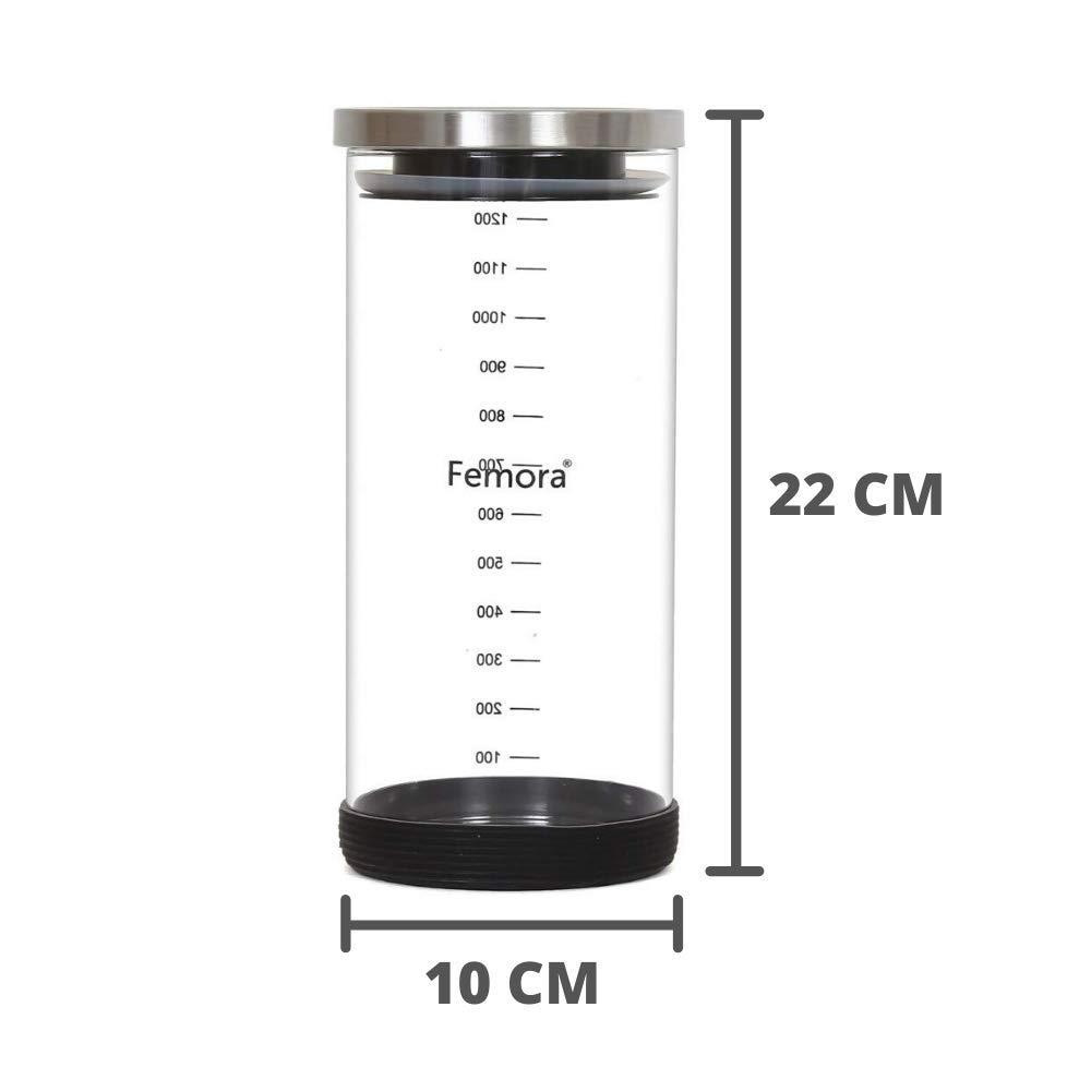 Borosilicate Glass Storage Steel Lid Jar with Silicone, 1300 ML - Set of 4