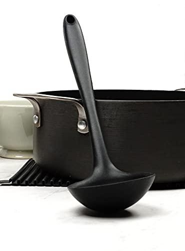 Silicone Premium Ladle with Grip Handle, Black, Non Stick, FDA Approved
