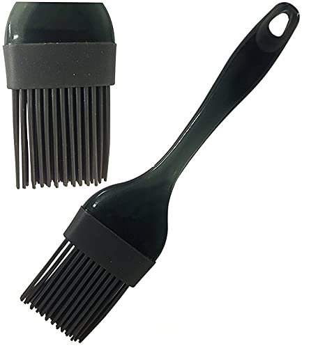 Silicone Premium Brush with Grip Handle, Black, Non Stick, FDA Approved, Set of 2
