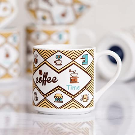 Indian Ceramic Fine Bone China Handcrafted Printed Text Design Tea Cup - 6 Pcs,160 ML - Small Serving