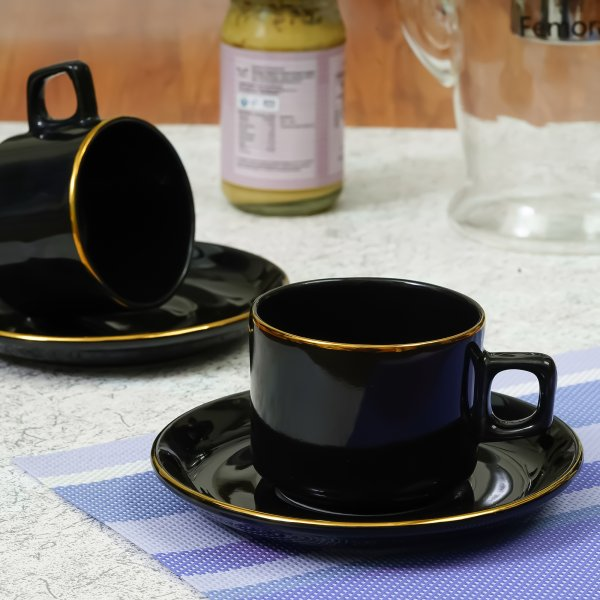 Indian Ceramic Black Gold Plated Tea Cup with Saucers - 200 ML - 6 Cup & 6 Saucer