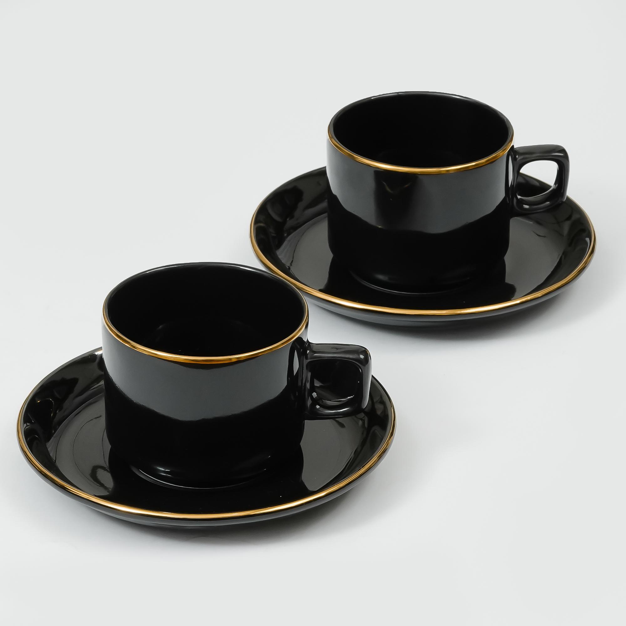 Indian Ceramic Bone China Black Gold Plated Tea 4 Cup &  4 Saucers - 200 ML