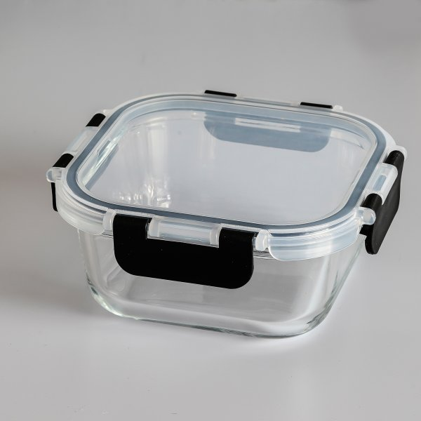 Femora Borosilicate Square Microwave Oven Safe Glass Container with Detachable & Break Free Lid , Black Color, 300 ML