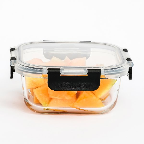 Femora Borosilicate Square Microwave Oven Safe Glass Container with Detachable & Break Free Lid , Black Color, 800 ML