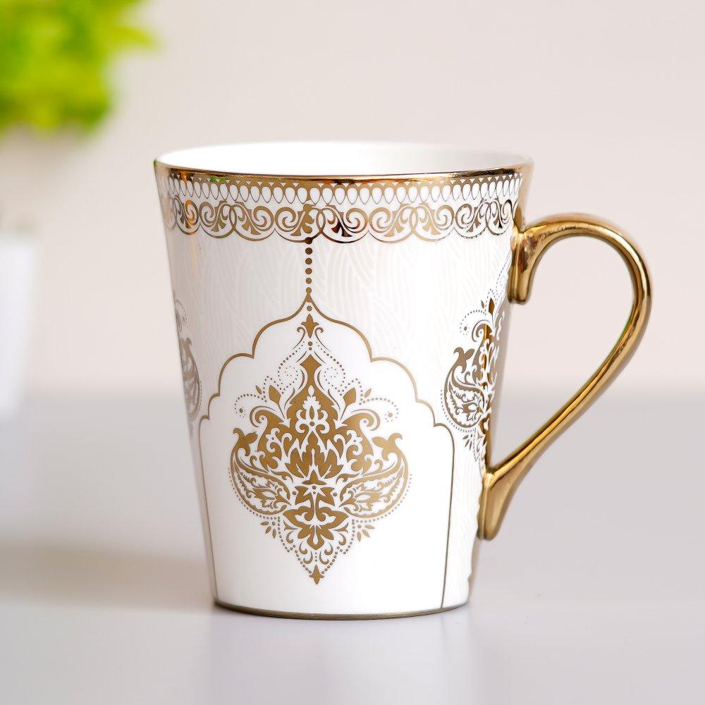 Fine Bone China Heritage Gold Coffee Mug Milk Mug, 330 ML, Set of 2