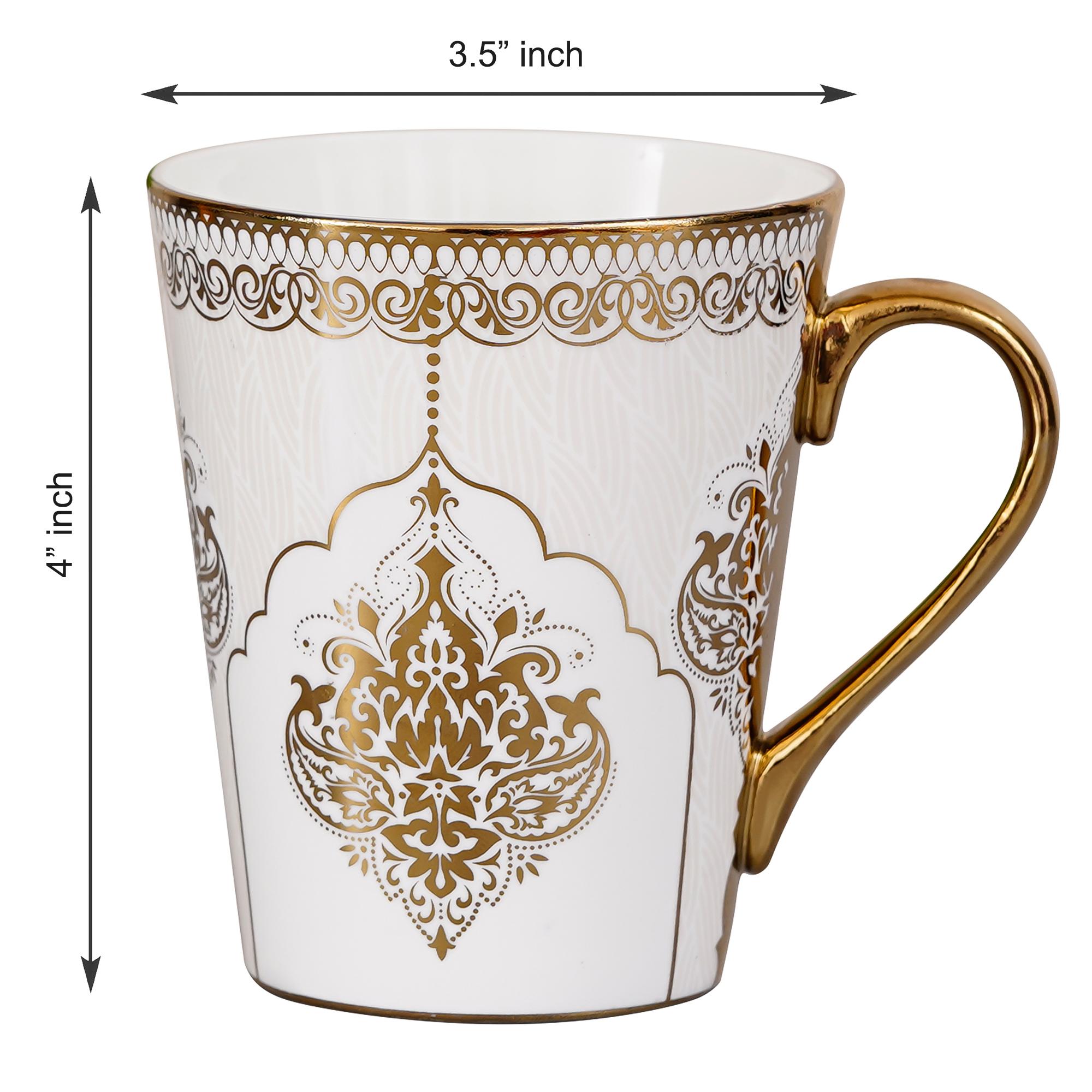 Fine Bone China Heritage Gold Coffee Mug Milk Mug, 330 ML