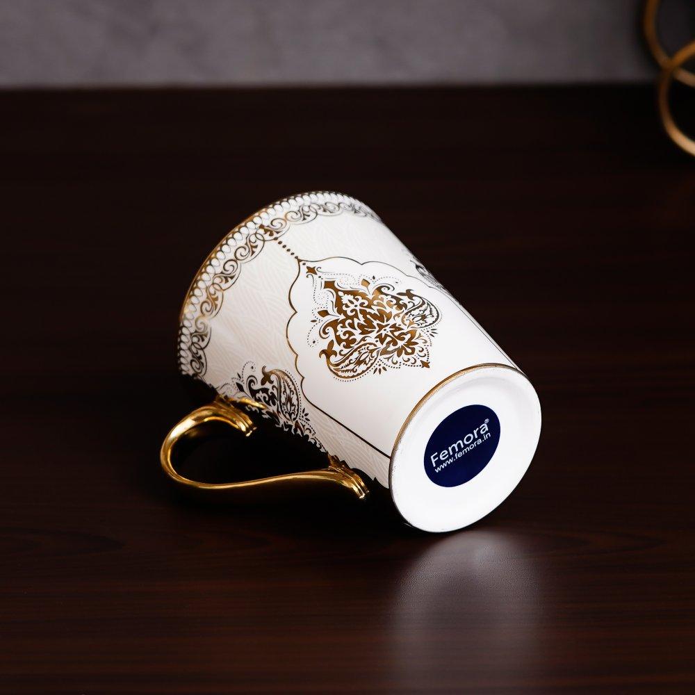 Fine Bone China Heritage Gold Coffee Mug Milk Mug, 330 ML, Set of 3