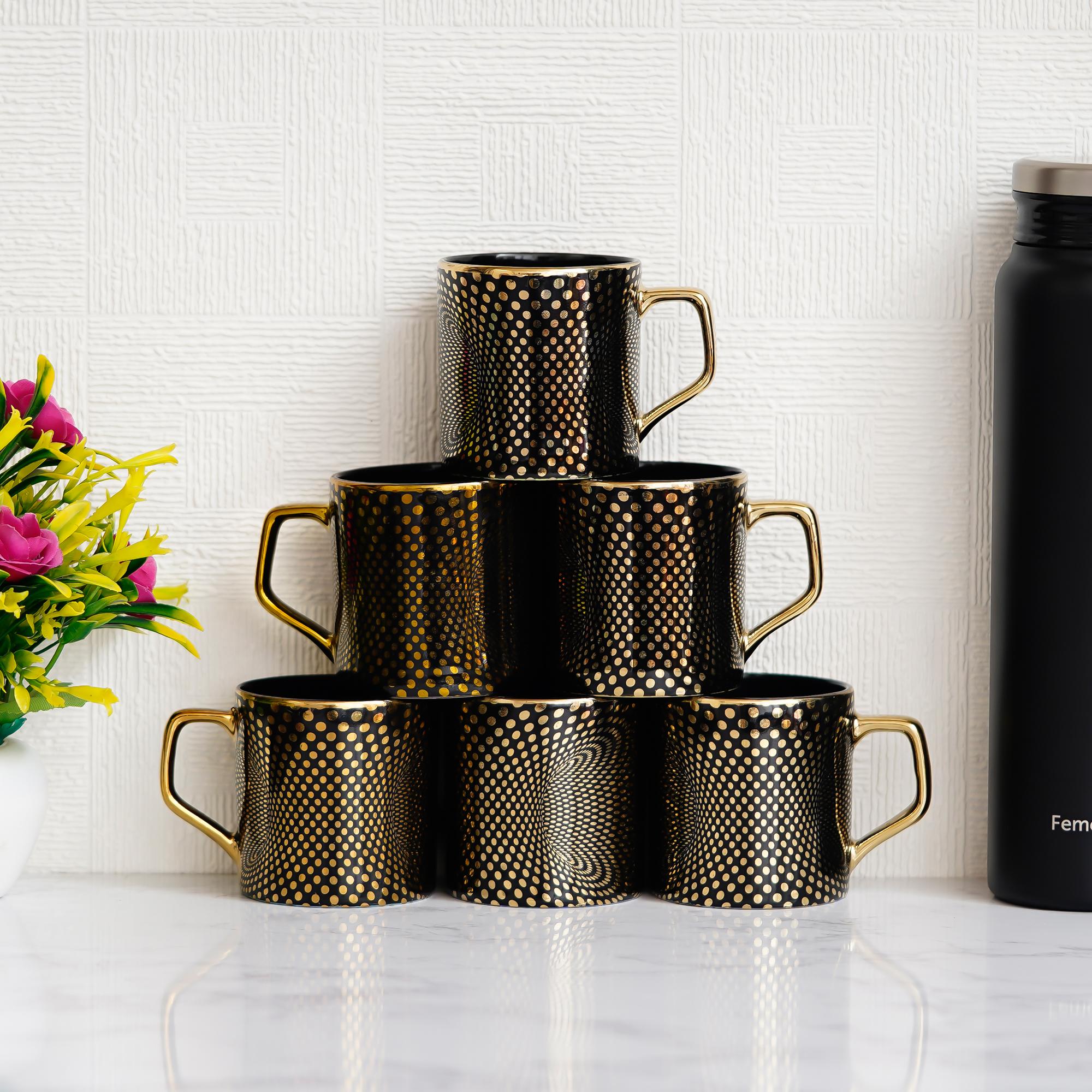 Indian Ceramic Fine Bone China Mystical Black Gold Line Tea Cups - Set of 6, 190 ML