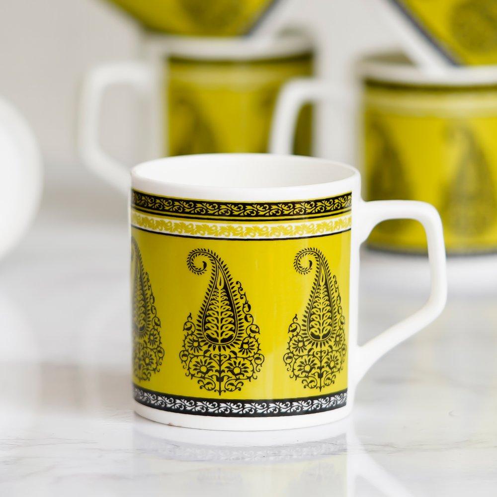 Indian Ceramic Fine Bone China Green Block Print Tea Cup- 6 pcs, 160 ML- Small Serving
