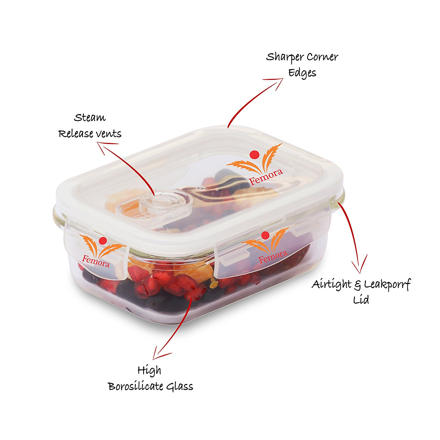 Borosilicate Glass Rectangular Container with Air Vent Lid 400 ML, 620 ML, 1000 ML, Set of 3
